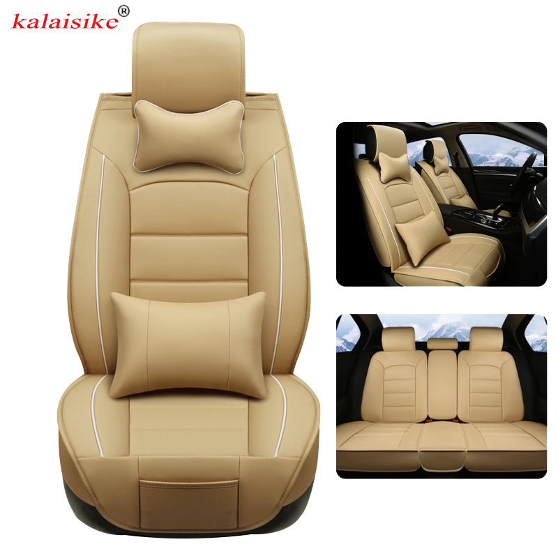 цена на kalaisike leather Universal Car Seat Cover for Peugeot all models 206 307 407 207 2008 3008 508 208 308 406 301 car accessories