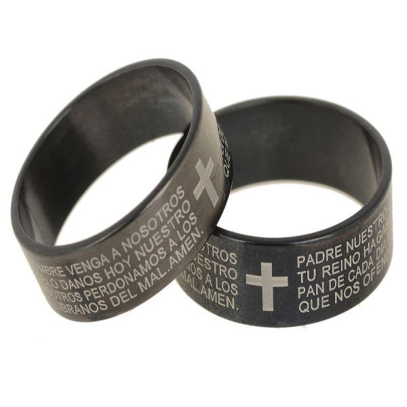 Wholesale 6Pcs/lot Men Cross Ring Bible Text 316L Silver Stainless Steel Bible Cross Finger Rings for Men Women Religious Ring