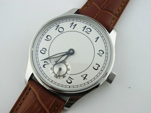 Casual 44mm Parnis White Dial 6498 Hand Winding Watch Silver Case Wristwatch Hot Sale