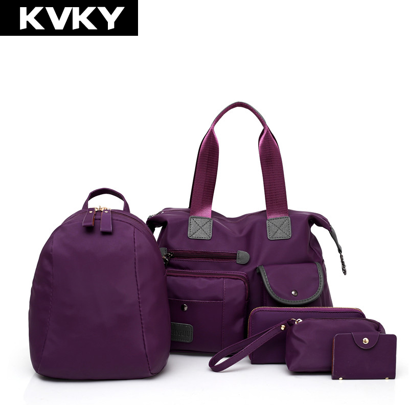 KVKY Brand 5 Pcs/set Women Handbag Fashion Women Shoulder Bag Waterproof Nylon Female Messenger Bags Ladies Composite Bag Bolsas kvky brand fashion soft leather shoulder bags female crossbody bag portable women messenger bag tote ladies handbag bolsas