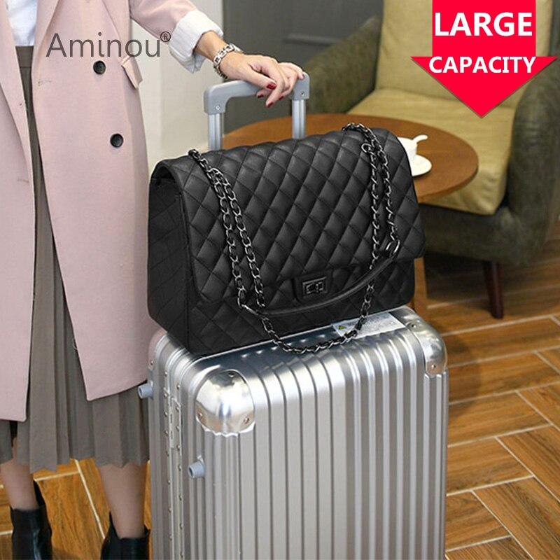 цена на Aminou Women Travel Large Messenger Bags For Girls Pu Leather Brand Designer Crossbody Handbag Fashion Ladies Tote Shoulder Bag