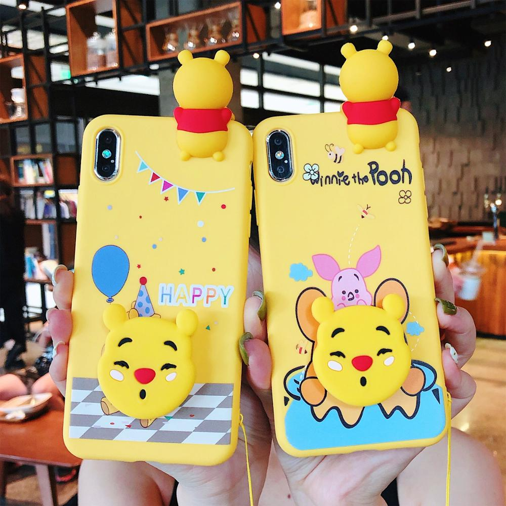 Cartoon Winnie Pooh Case For Huawei P20 Lite Soft Doll Phone Strap Rope Case For Huawei Y9 2019 P30 Pro Nova 3 3i P20 Pro Cover in Fitted Cases from Cellphones Telecommunications