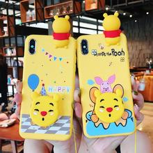 Cartoon Winnie Pooh Case For Huawei P20 Lite Soft Doll Phone Strap Rope Y9 2019 P30 Pro Nova 3 3i Cover