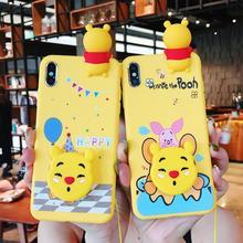 Cartoon Winnie Pooh Case For OPPO F9 Soft Doll Phone Strap Rope F5 F7 F11 Pro A5 A7 A37 A59 A83 A77 A79 Cover