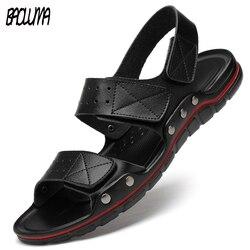 Homens sandálias de couro genuíno homem verão sapatos de praia sandália macio tamanho grande inferior masculino romano confortável
