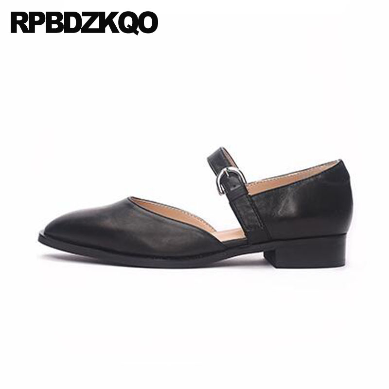 Sandals Genuine Leather Mary Jane Black China Designer Shoes Women Luxury 2018 Flats Ladies Pointed Toe High Quality Chinese