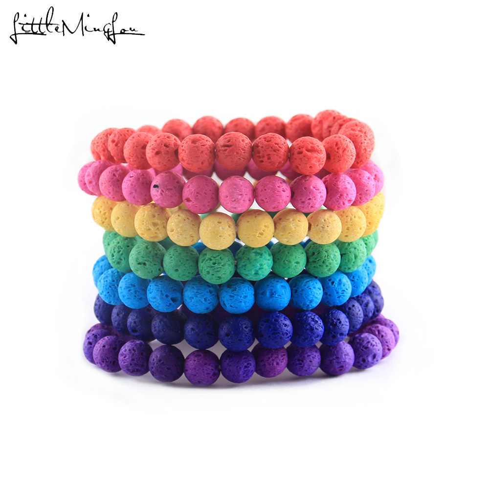 Classic Natural stone dyeing lava Buddha beads Couple Lovers best friend women bracelet yoga Beaded Bracelets Bangles for men