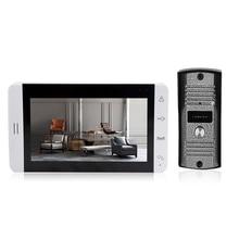 7-дюймовый ЖК-дисплей Экран монитор Видео дверной глазок дверной звонок сенсорная кнопка видео домофон комплект ИК Ночное видение Камера дверной Звонок