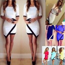 XS-XL 2016 Sommer Stil Frauen Kleid Sexy Candy Farbe Bodycon Clubwear Cocktail Halben Hülse Wrap Kleid 7 Farben