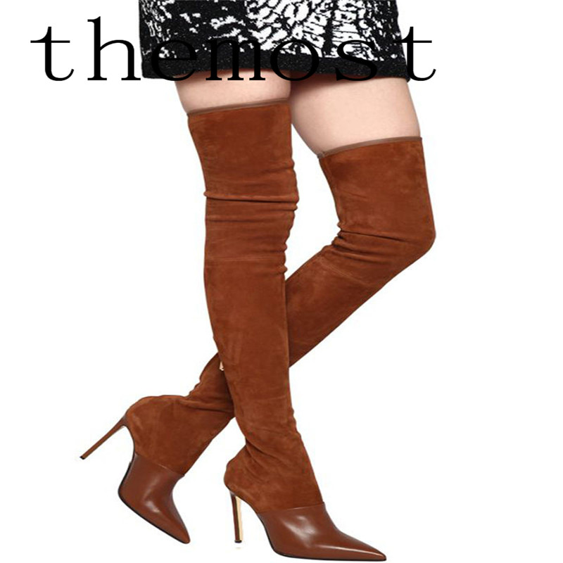 themost  Europe and the United States the latest fashion boutique suede spell color knee boots sexy high heel 12CM ladies boots themostthe latest fashion and luxury night club in europe and the united states the high shoe women s shoes the high shoes