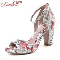FACNDINLL 2018 Super Big Size 40 Women Sandals Fashion Gladiator Summer Shoes Thick High Heeled Sandals