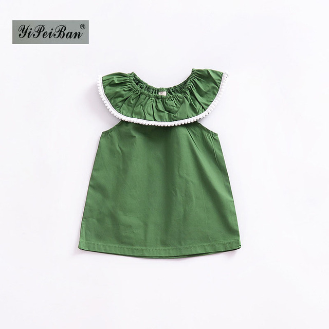 1a2c04966d234 Simple Summer Baby Girls cotton Dress baby green party Dress INS Girls Lace  collar cute clothes for 1-5Age Children