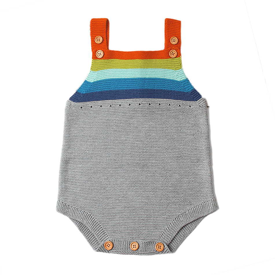 Brand Cute Knitting Romper Baby Boys Girls  Knitted Cotton clothes Infant Jumpsuit rainbow Striped Outfit Newborn Clothing newborn baby backless floral jumpsuit infant girls romper sleeveless outfit
