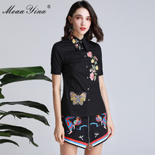 MoaaYina Fashion Designer Set Spring Summer Women Short sleeve Floral Butterfly Embroidery Black Tops+Short skirt Two-piece suit stylish short sleeve pink knitwear and floral skirt women s suit
