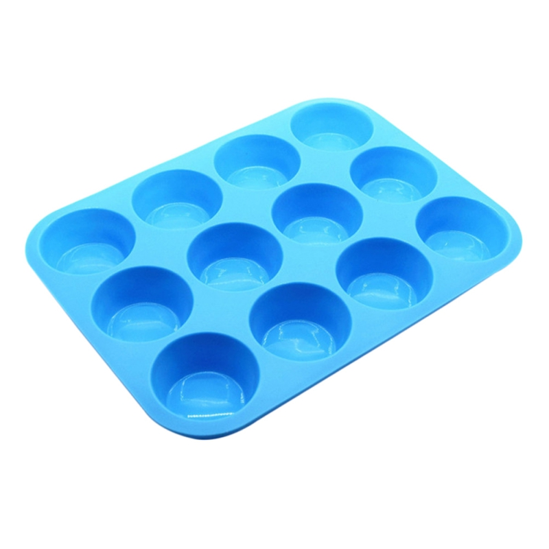 12 Cup Silicone Non-Stick Round Mousse Cake Mold Muffin pan &Cupcake Baking Pan DIY Baking Pastry Tools Baking Supplies