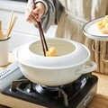 Sartén con esmalte de porcelana blanca japonesa para el hogar, olla gruesa para la salud de la sopa con doble ASA tempura, olla de inducción