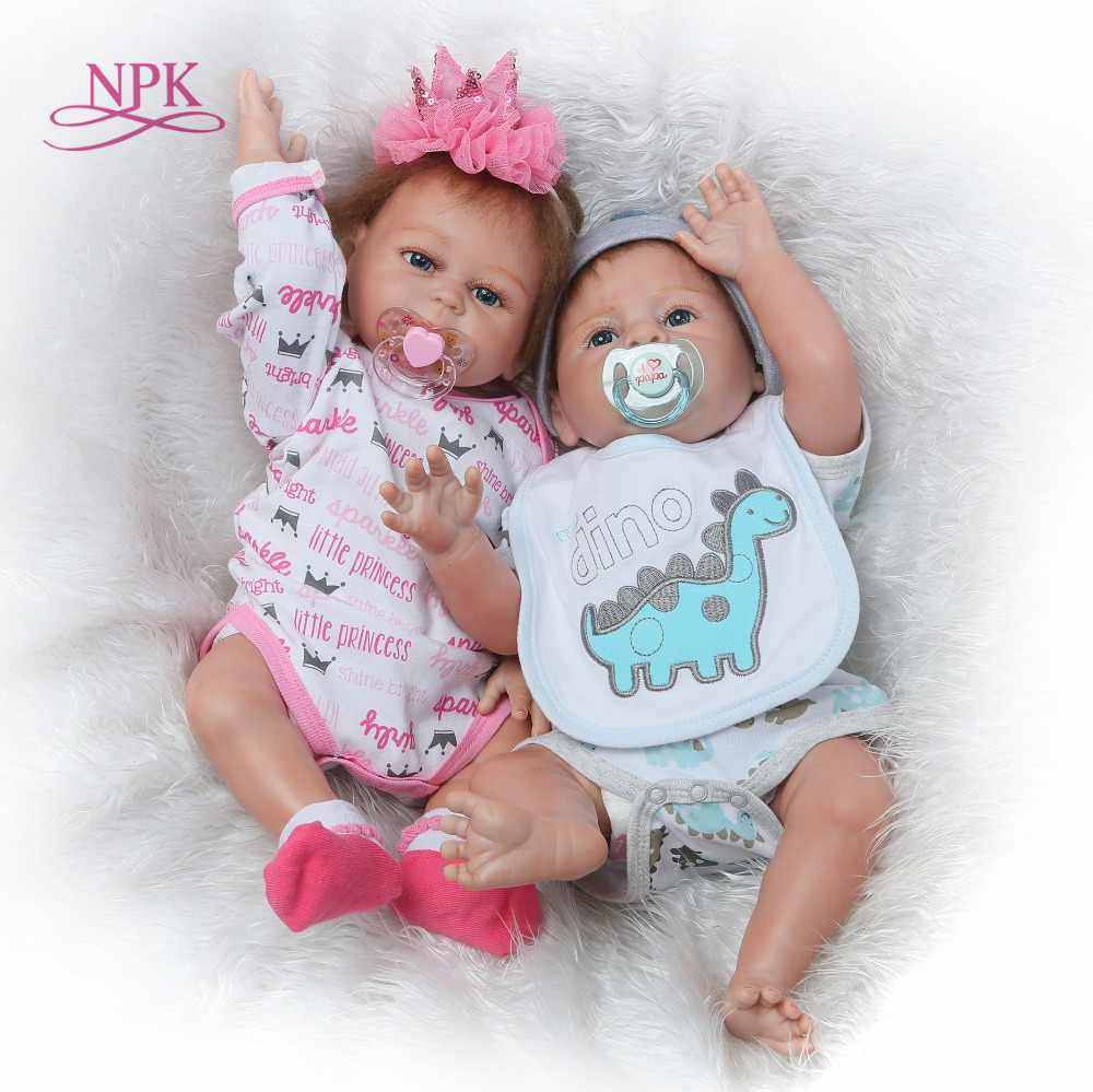 цена NPK 55cm Simulation Reborn Baby Doll full Silicone body Lifelike Baby Doll with Cloth Appease Accompany Toy for Infant Girl Gift