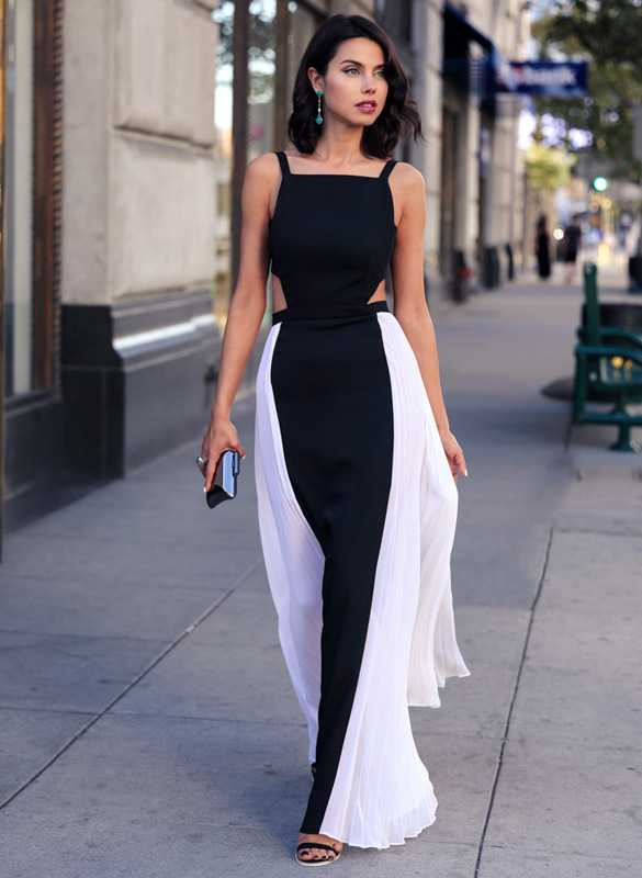 New Summer Sexy Long Formal Dress Backless White Black Patchwork