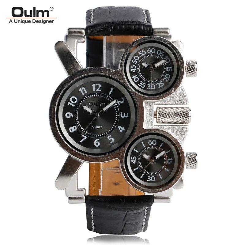 OULM Einzigartige Uhren Männer Drei Zeit Zone Große Große Größe Unregelmäßigen Dial Echt Leder Strap Militär Männer Armbanduhren Männlich uhr