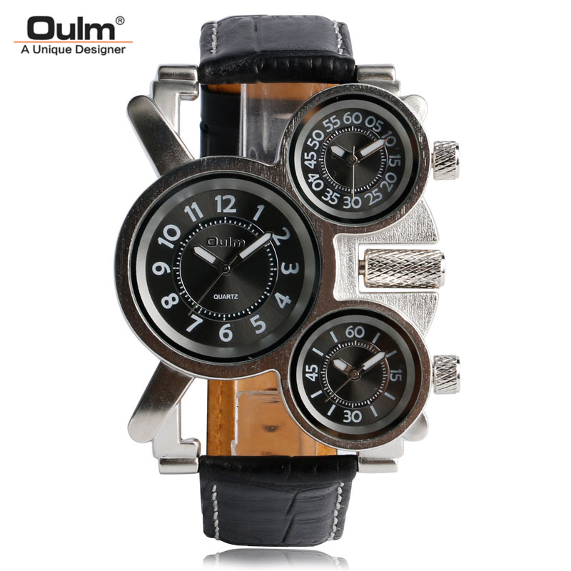 OULM Unique Watches Men Three Time Zone Large Big Size Irregular Dial Real Leather Strap Military Men's Wristwatches Male Clock