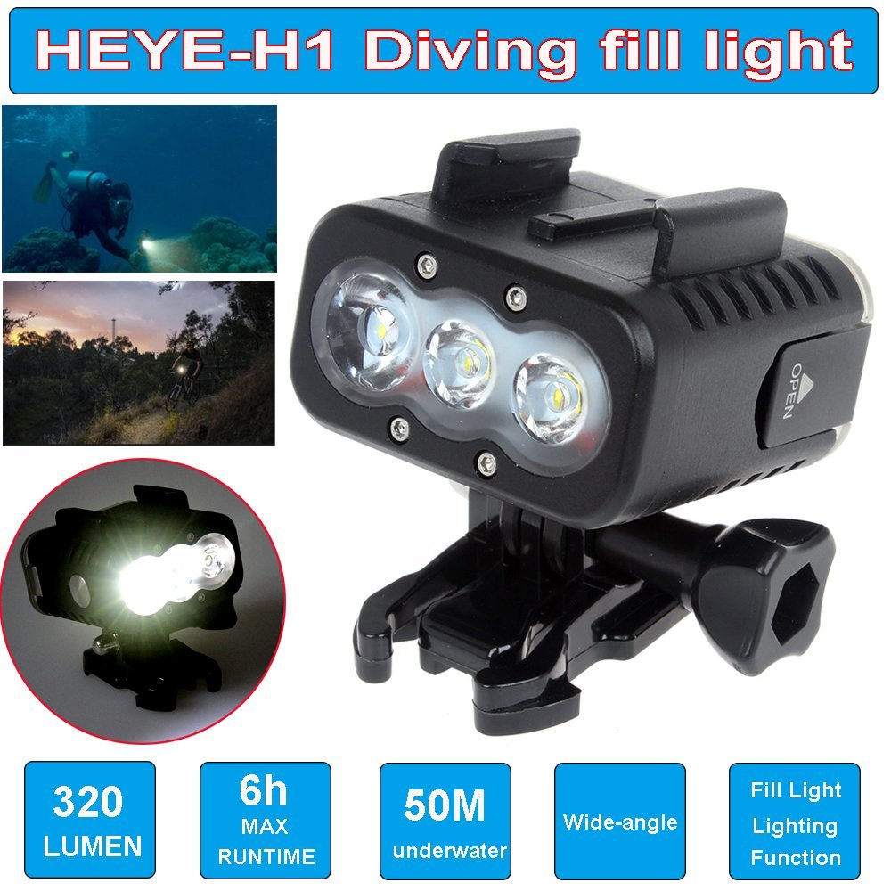 Free Shipping!!Boblov Waterproof Underwater 50M Scuba Diving Fill LED Light For GoPro Hero SJCAM Xiaomi Yi Gitup Git2 Sports Cam