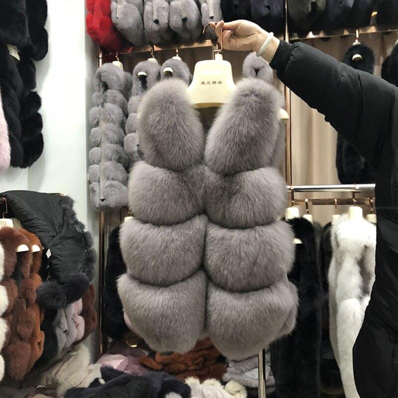 Women's Real Fur Vest Fox Fur Waistcoat 100 Full Pelt Whole Leather Sleeveless Fox Fur Vest rf0132