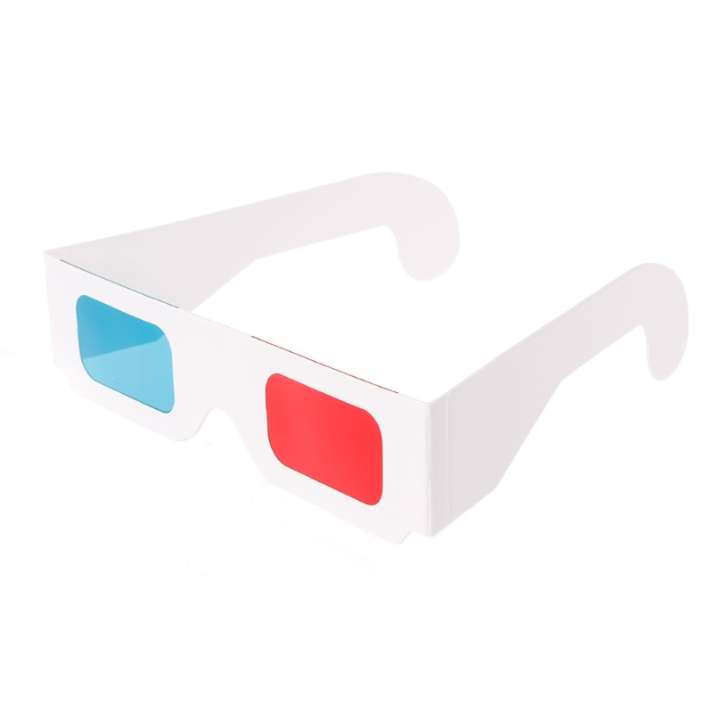 Universal White Frame Red Blue Anaglyph 3D Glasses For