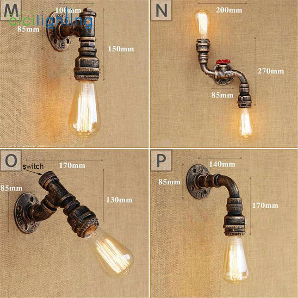 Loft Retro eisen industrielle Wasser rohr wand licht mit on off schalter lampe Vintage Stil rohr wandleuchter dampf wasser rohr lampe