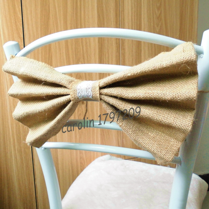 12pcs Lot Natural Jute Burlap Ribbon Bowknot Wedding Chair Decoration Rustic Centerpieces Mariage In Party DIY Decorations