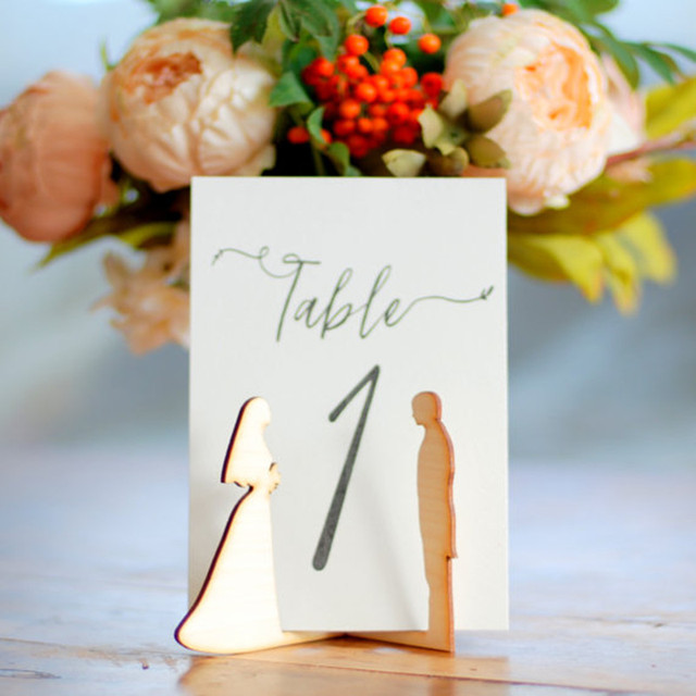 10x Wood Wooden Bride Groom Table Number Holder Stand Wedding Menu Sign Diy Party