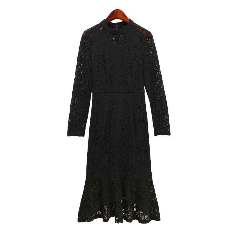 Siyah Kırmızı Dantel Elbise Kadın Sonbahar Yeni Ince Bodycon Elbise Içi Boş Moda Tasarımcısı Elbiseler Pist 2019 Yüksek Kaliteli Vestido f1336