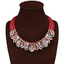 Vintage Necklace for Women Bohemian Necklaces Chokers Hand-knitted Statement Choker Jewelry Colored Chunky