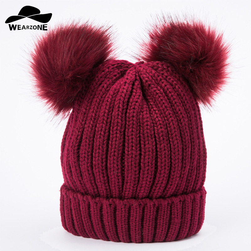 WEARZONE Women Winter Hat Real Mink Fur Pom Poms Girl 'S Hats Knitted Beanies Cap Solid Colors Cap Female Causal Double Ball Hat milyfurer women hat rex rabbit fur colour mixture ball pom poms winter hats for women s knitted beanies cap winter female cap