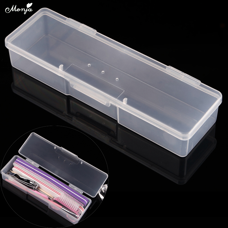 Monja Nail Art Rectangle Gjennomsiktig Plast Oppbevaringsboks Nail Dotting Tegning Pensel Pen Polering Svamp Buffer Container Case