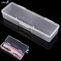 Monja Nail Art Rectangle Translucent Plastic Storage Box Nail Dotting Drawing Brush Pen Polishing Sponge Buffer Container Case