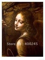 High quality Leonardo da vinci Woman oil painting portrait Detail of the Angel from the Virgin of the Rock handmade art for room