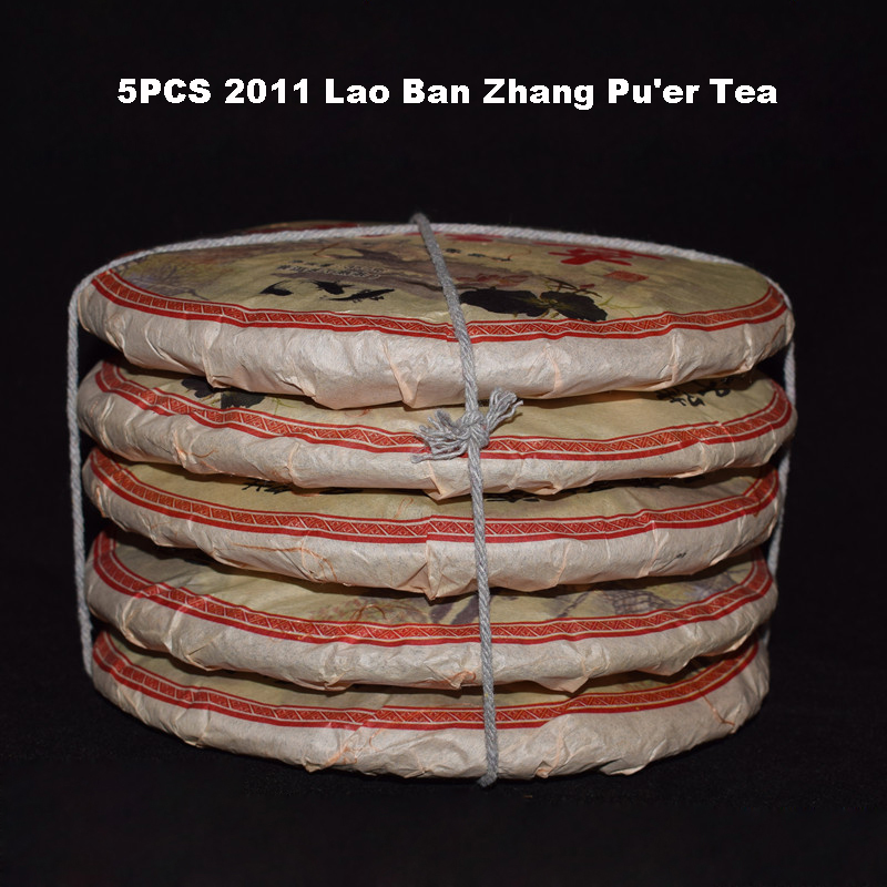 5PCS 2011 Authentic Yunnan Lao Ban Zhang Old Pu er Tea 357g PC Tea Cake Ripe