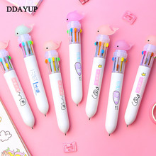 Cute Dolphin 10 Color Cartoon Ballpoint Pens Multi Color Pen School Stationery Writing Supplies Office Supplies 0 5mm candy multicolor ballpoint pen cute 10 colors ink ball point pens marker pen for writing office school supplies stationery
