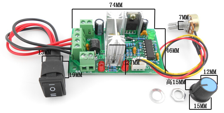 FREE SHIPPING  DC Motor Speed 10V12V24V36V Reversible Switch PWM DC Controller 150W