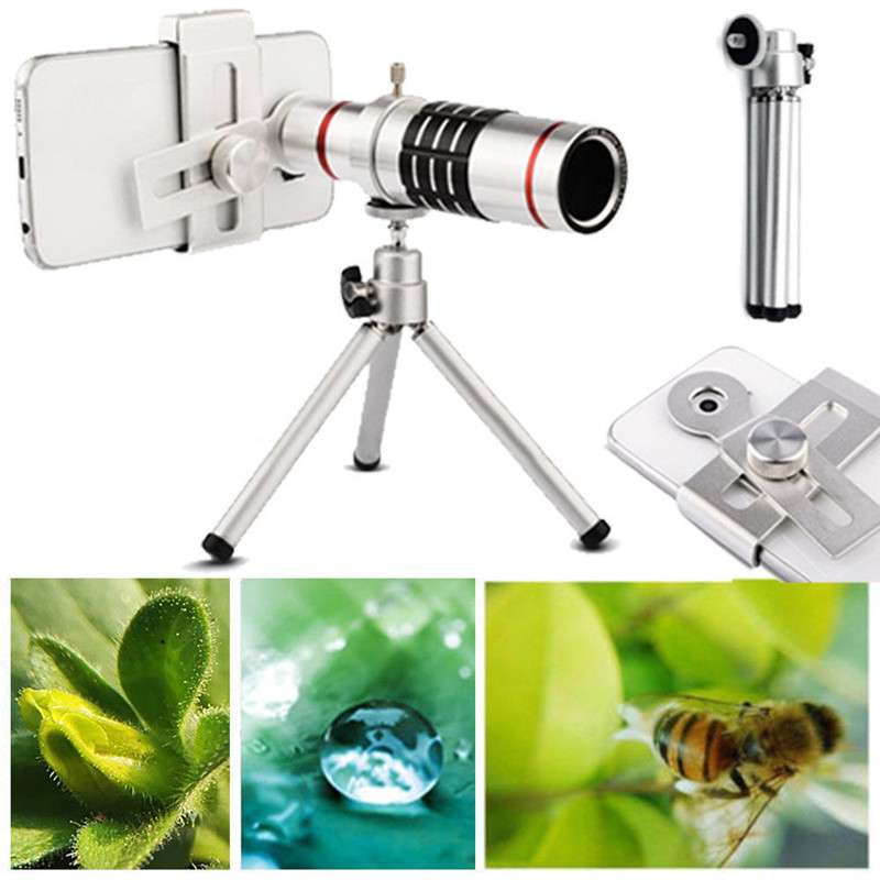 2017 New 18X Universal Phone Tripod Zoom Mobile Phone Lens Telescope Camera Telephoto Lens with Tripod