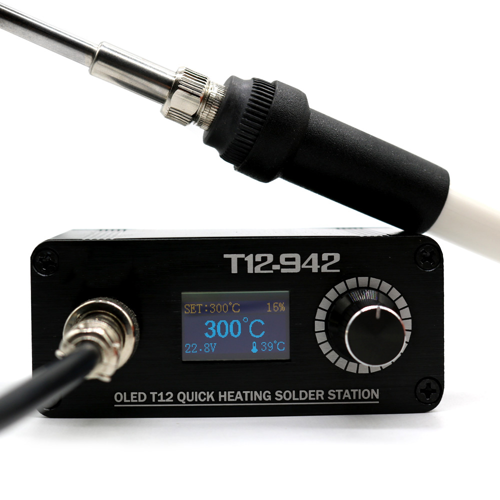 ALLSOME T12-942 MINI OLED Digital Soldering Station T12-907 Handle with T12-K Iron Tips Welding Tool HT1915ALLSOME T12-942 MINI OLED Digital Soldering Station T12-907 Handle with T12-K Iron Tips Welding Tool HT1915