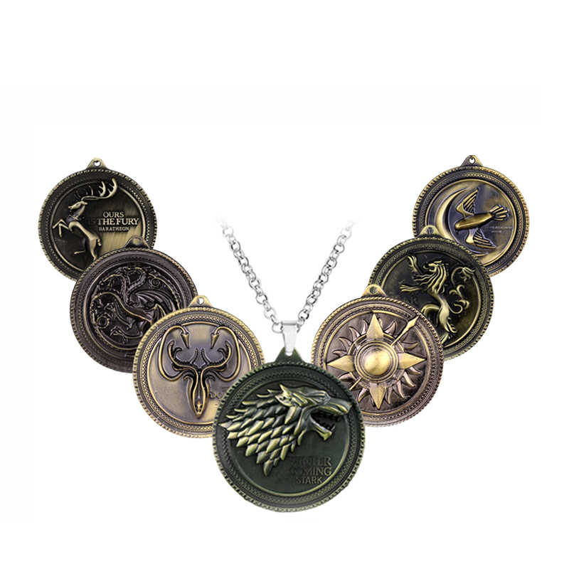 Game of Thrones Necklace Movie Jewelry Targaryen House Stark Winter is Coming Bronze Metal Pendant Jewelry Family Crest For Fans