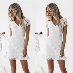 10bd5f235da MERSALEE Lace White Elegant Mini Dress Women Sexy Summer