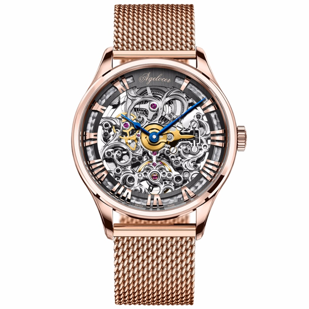 Agelocer Luxury Brand Watches for Men Skeleton Automatic Watches 80 Hours Power Reserve 18K Rose Gold Sport Watches relojes homb цена