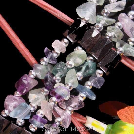 "Magnético Hematita Fluorita Chip Beads Bangle Bracelet GEM 32 ""L"