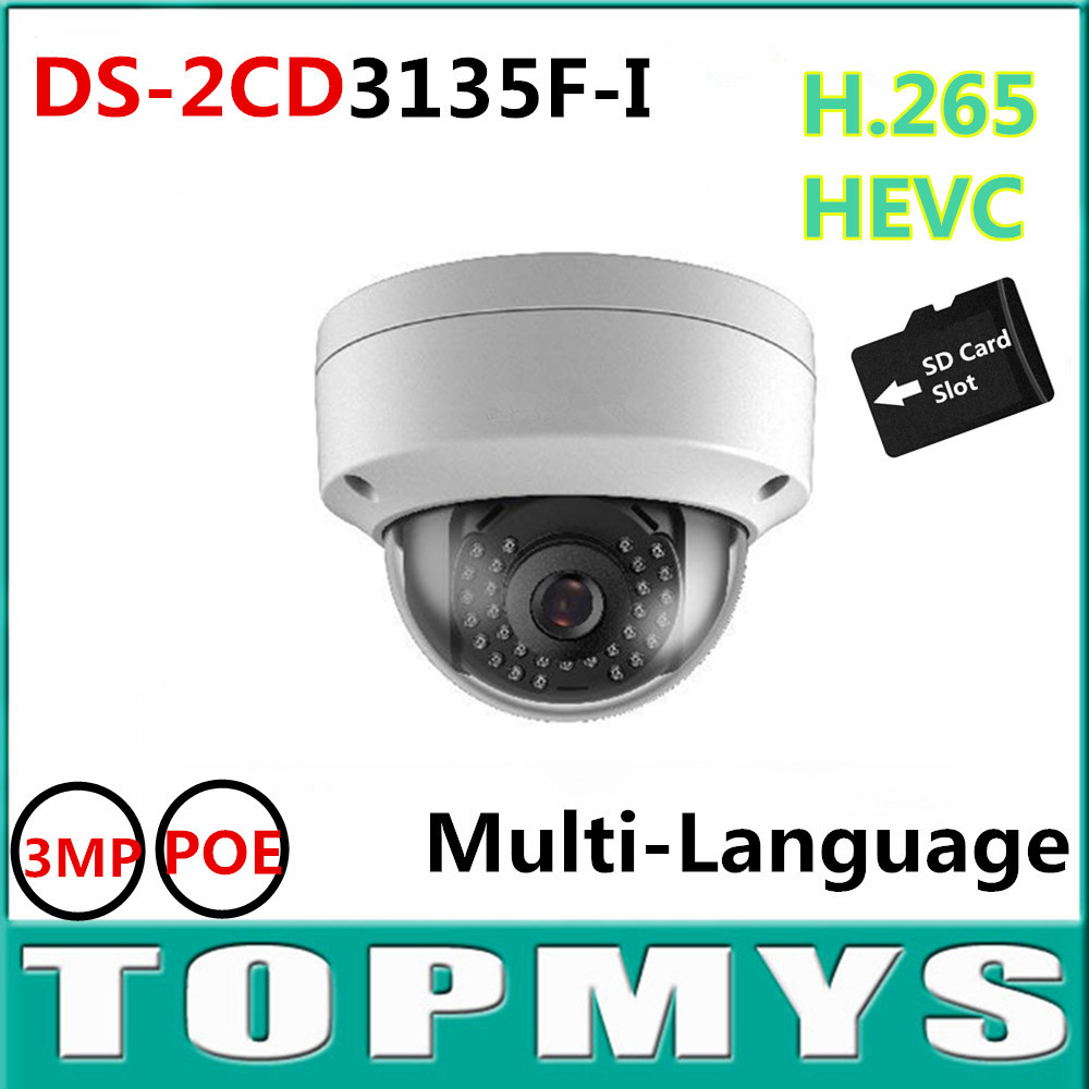 Newest V5.3.3 DS-2CD3135F-I Full HD 3MP Support H.265 HEVC with TF Card Slot Mini Dome POE IP CCTV Camera Multi-language newest hik ds 2cd3345 i 1080p full hd 4mp multi language cctv camera poe ipc onvif ip camera replace ds 2cd2432wd i ds 2cd2345 i