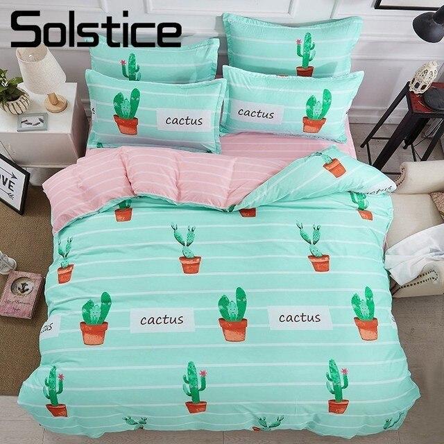 Solstice Home Textile King Twin Bedding Set For Girl Kid Teen Cactus Duvet  Quilt Comforter Cover
