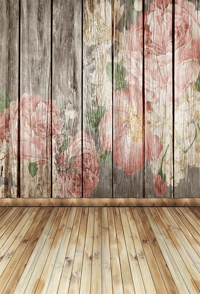 Laeacco Flowers Painted Wooden Board Floor Portrait  Photography Backgrounds Customized Photographic Backdrops For Photo Studio