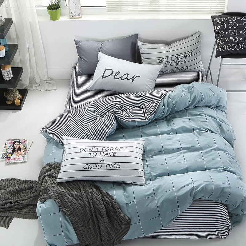 Cotton Bed Fitted Sheet Set 2 sizes with duvet cover Nordic simple printed bedding bedsheet sets
