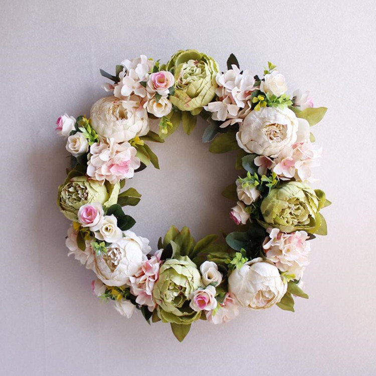 Flone Artificial Peony Wreaths Silk Flower Simulation Flowers Wreaths Door Ornaments Garland Wedding Home Party Decorative (13)